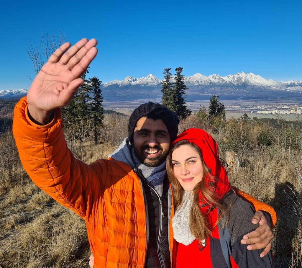 Shwetabh Gangwar with his wife, Michae La